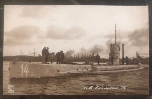Mint WW 1 Imperial German Navy U 14 Boat Submarine RPPC Postcard At Port