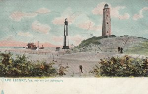 CAPE HENRY,  Virginia, 1907 ; New and Old Lighthouses; TUCK # 2223