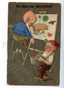 159497 New Year GNOME Painters PIG by MT Vintage TSN color PC
