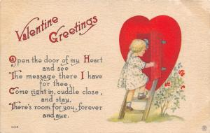 Valentine~Lil Girl Climbs Ladder Steps to Door of Heart~Room for You~Artist~1912