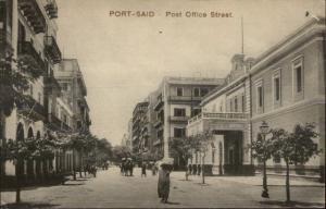 Port Said Egypt Post Office Street c1910 Postcard