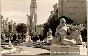1939 GGIE San Francisco World's Fair RPPC Photo Postcard MONUMENTAL FOUNTAIN