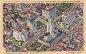 California Los Angeles Civic Center Aerial View 1940