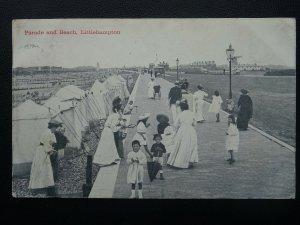 West Sussex LITTLEHAMPTON Parade & Beach showing Windmill c1908 Postcard