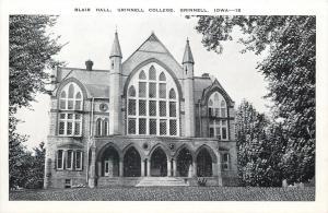 Grinnell Iowa~Blair Hall Grinnell College~1950s B&W Postcard