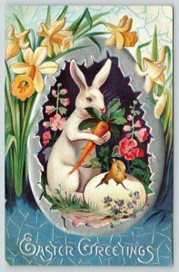 Easter Panorama~White Bunny Rabbit Cradles Carrot~Chick~Silver Egg~Embossed~NASH