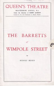 The Barretts of Wimpole Street Queen's Theatre Programme