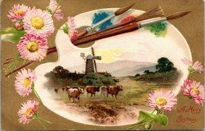 Merry Christmas - vintage - palette painter farm - Postcard