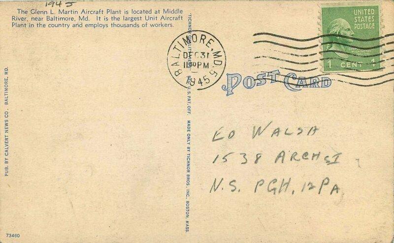 Baltimore Maryland Glen L Martin Aircraft Plant 1945 Postcard Birdseye 21-2422