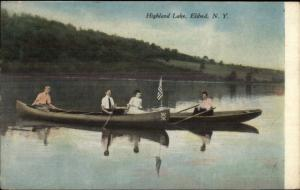 Eldred NY Highland Lake Boating c1910 Postcard