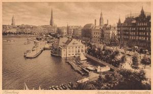 Hamburg Jungfernstieg mit Alsterpavillon Harbour Boats