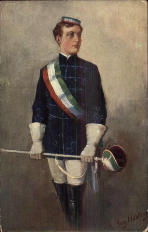Georg Muhlberg - Man in Sport Fencing Outfit c1910 Postcard