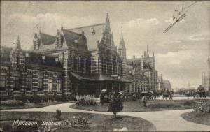 Nijmegen Netherlands RR Train Station Postcard Cancels & Stamp Postcard