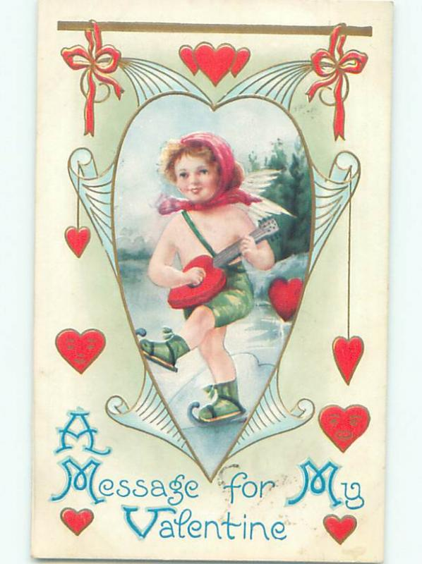 Pre-Linen skating valentine CUPID ON ICE SKATES PLAYS HEART SHAPED GUITAR J0528
