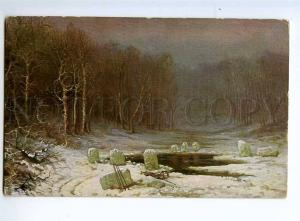 236047 Hunting in Winter by MESCHERSKY vintage Russian PC