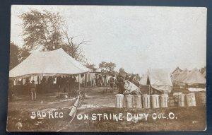 Mint USA RPPC Real Picture Postcard Labor Strike On Duty Columbus Ohio