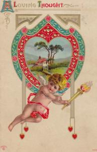 Valentines Day , Cupid with a torch , 1911