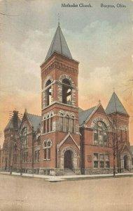 LPS06 BUCYRUS Ohio Methodist Church Hand Colored Postcard