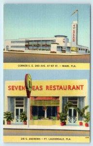 FT LAUDERDALE, FL Florida ~ SEVEN SEAS RESTAURANT c1940s Linen Roadside Postcard