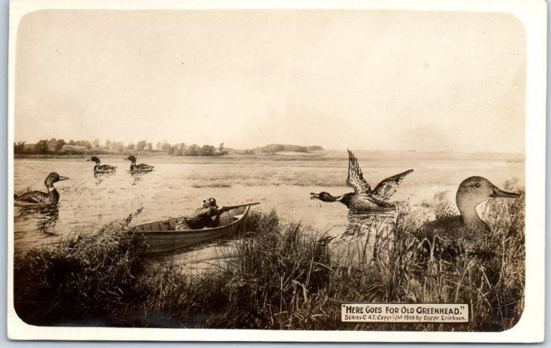 Vintage HUNTING EXAGGERATION Postcard Ducks Oscar Erickson Photo RPPC c1909