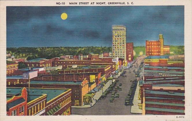 South Carolina Greenville Main Street At Night