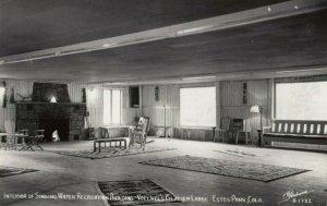 RP: ESTES PARK , Colorado , 1940s ; Singing Water Recreation Building , Interior