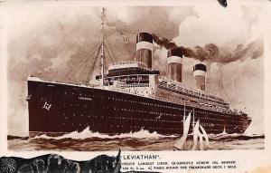Ship Transport S.S. Leviathan Large Liner, Quadruple Screw Oil Burner