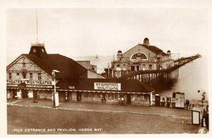 Vintage Kent Real Photo Postcard, Pier Entrance and Pavilion HERNE BAY AF9