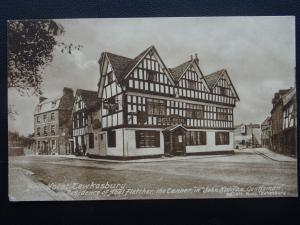 TEWKESBURY Bell Hotel shows ABBEY MILL Abel Fletcher & John Halifax Old Postcard