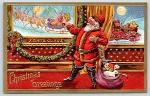 Christmas~Santa Views Portrait Gallery~In Sleigh~Drives Auto~Gold Emboss~Conwell