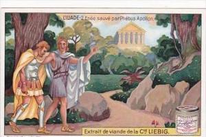 Liebig Trade Card S1196 The Iliad No 2 Enee sauve par Phebus Apollon