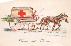 Red Cross Post Card Doing Our Bit Horse Drawn Red Cross Carriage Postal Used,...