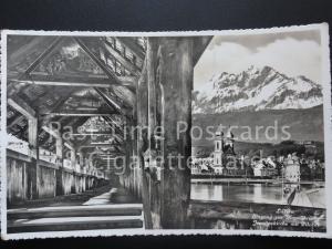 Switzerland Luzern: Eingang zur Kapellbrucke jesuitenkirche mit Pilatus c1939 RP