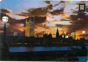 London England Sunset Big Ben Night Scene Houses of Parliment   Postcard  # 7819