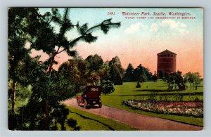 Seattle WA-Washington, Volunteer Park, Water Tower, Period Car, Vintage Postcard