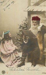 Christmas Postcard Surrealism Fantasy Santa Claus reading the list of a girl