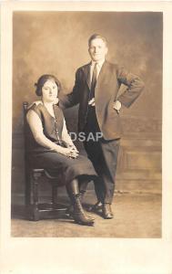 Ohio Postcard Real Photo RPPC c1910 COLUMBUS Woman Man Pose Studio