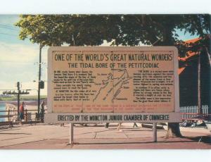 Pre-1980 VINTAGE SIGN OF GREAT NATURAL WONDERS Moncton New Brunswick NB E6808