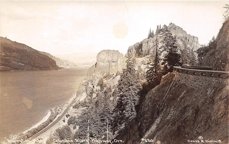 Columbia River Highway Oregon~Inspiration Point~RR Tracks~Stone Rail~c1930 RPPC