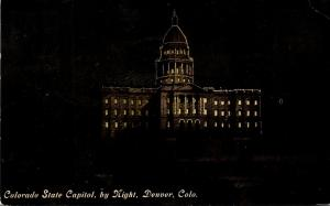 Colorado Denver Night View Of State Capitol 1911