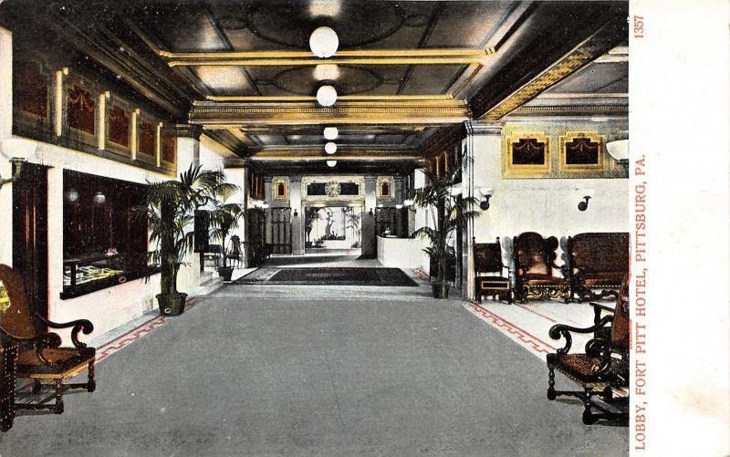 Charmant Pittsburgh Pennsylvania~Fort Pitt Hotel Lobby~Vintage Furniture~Plants~c1905  Pc