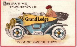 GRAND LEDGE, MI  Michigan   PENNANT  AUTO  Comic   1913   Postcard