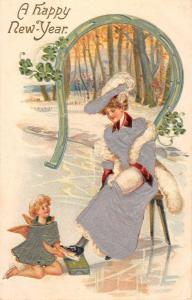 Happy New Year Woman Show Shine Angel Silk Antique Postcard K78534