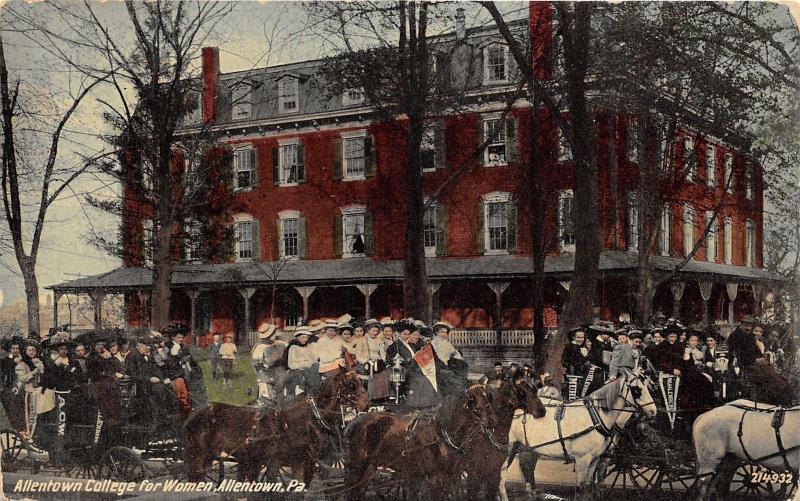 Allentown Pennsylvania College for Women~Ladies on Carriages w Pennants~c1910 Pc