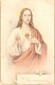 Cor Jesu. Spanish religious postcard 1940s