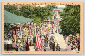 Ocean Grove NJ~1940s Parade March Around Jerusalem~Patriotic Band~1940s Linen PC