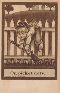 On picket duty, Crying soldier boy hanging from fence, PU-1908