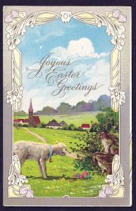 Joyous Easter Greetings Sheep Rabbits Eggs unused c1910's
