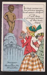 Comic Postcard - Statue Peeing On Tourist - Used In Belgium