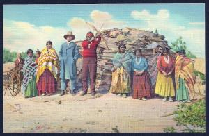Navajo Indian Family w/Home unused c1939